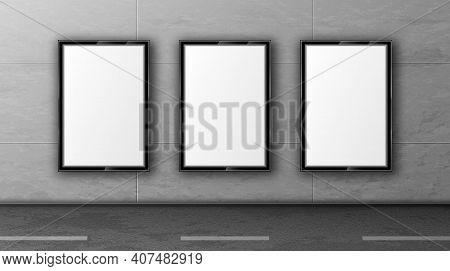 Blank Street Billboards On Tiled Wall. White Posters In Black Frame For Outdoor Advertising. Vector