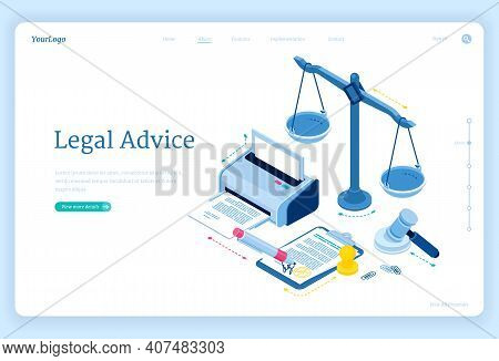 Legal Advice Isometric Landing Page. Lawyer Assistance For Regulation Legal Issues And Compliance To