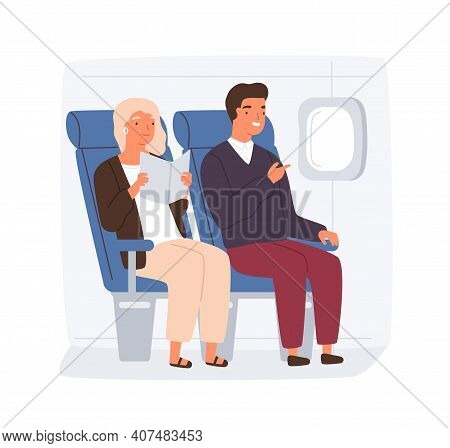 People Traveling By Plane. Passengers On Their Seats Inside Aircraft. Happy Couple Of Passengers Rea