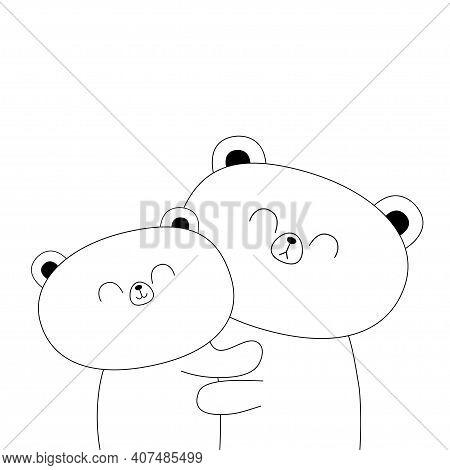 Bear Hugging Couple Family. Hug, Embrace, Cuddle. White Contour Silhouette. Cute Kawaii Funny Cartoo