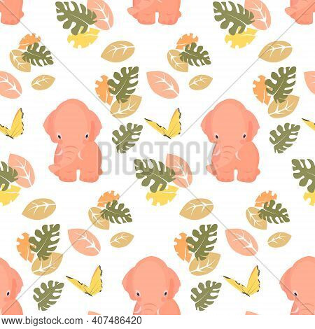 Vector Seamless Pattern With Cute Mammoth On White Background. Childish Background. Funny Cartoon An