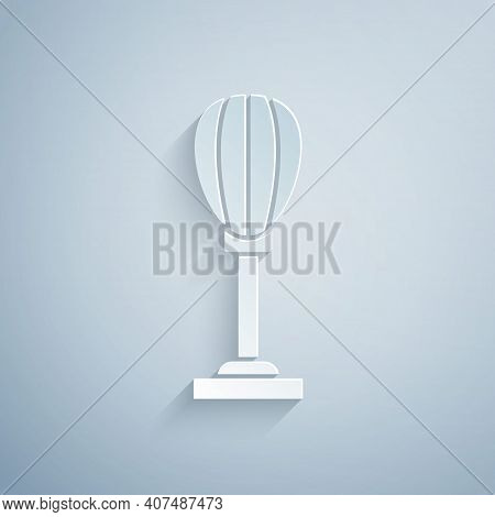 Paper Cut Punching Bag Icon Isolated On Grey Background. Paper Art Style. Vector