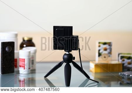 A Table With Photographic Equipment And Paraphernalia Prepared For The Video Shooting Of A Blog Abou