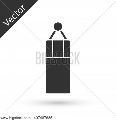 Grey Punching Bag Icon Isolated On White Background. Vector