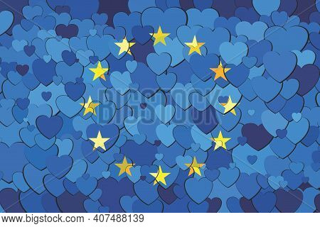 European Union Flag Made Of Hearts Background - Illustration,  Abstract Mosaic Flag Of European Unio