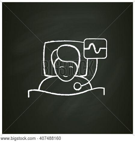 Polysomnography Chalk Icon. Heart, Sleep Examination. Sleep Disorder. Healthy Sleeping Concept. Card