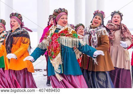 Petrozavodsk, Russia - February 6th, 2021: The Folk Ensemble Of Russian Songs `katyusha` Performs At