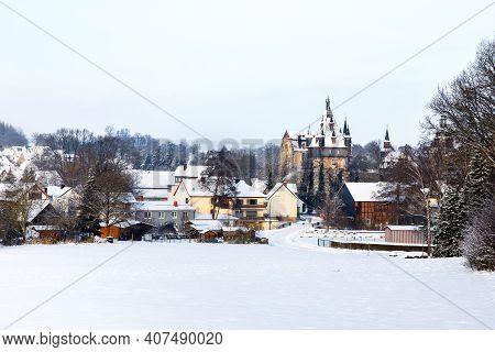 German Fairytale Castle In Winter Landscape. Castle Romrod In Hesse, Vogelsberg, Germany. Beautiful