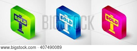 Isometric Hanging Sign With Text Sold Icon Isolated On Grey Background. Sold Sticker. Sold Signboard