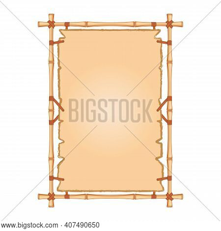 Vector Decorative Frame Made Of Bamboo And Parchment. Border For Decoration Of Diplomas, Certificate