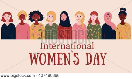 International Women Day Card For 8 March. Happy Young Female Of Different Nationalities, Afro Americ