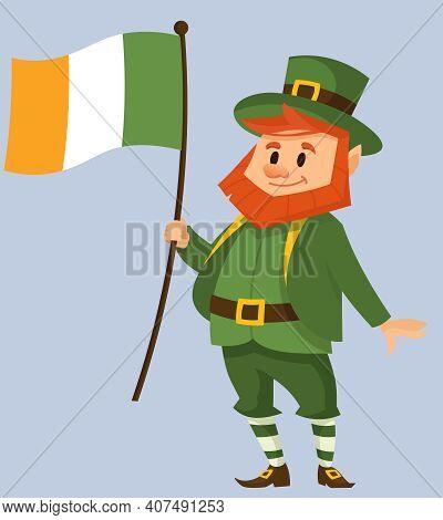 Leprechaun Holding Irish Flag. Fairy Tale Character In Cartoon Style.