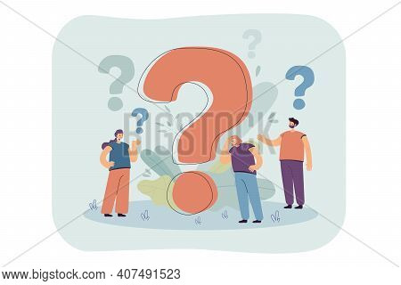 Pensive People Asking Frequently Asked Questions Isolated Flat Vector Illustration. Cartoon Tiny Cha