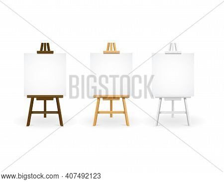 Realistic Detailed 3d Wooden Easel Set With Empty Blank Canvas On A White. Vector Illustration Of Ea