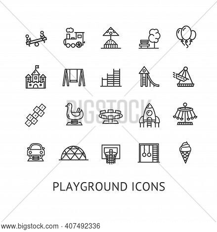 Kid Playground Sign Thin Line Icon Set Include Of Bench And Ladder. Vector Illustration Of Icons