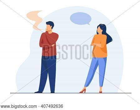Displeased Woman Talking With Smoking Man. Cigarette, Health, Speech Bubble Flat Vector Illustration