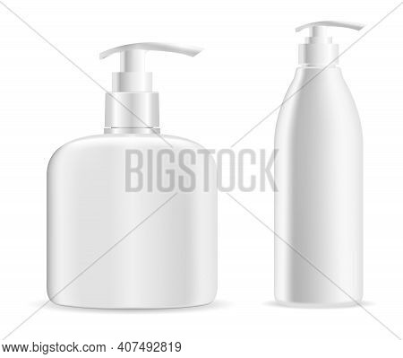 Pump Bottle. Soap Dispenser Mockup, Cosmetic Lotion Bottle Blank. Plastic Body Gel Container Or Crea