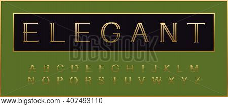 Golden Elegant Alphabet. Beauty Deluxe Font, Type For Elegance Headline, Gold Premium Monogram, Quot