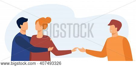 Girlfriend Cheating Her Boyfriend With Another Man. Lover, Husband, Infidelity Flat Vector Illustrat