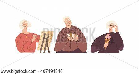 Set Of Happy Elderly Senior Adult. Old Cheerful People Leisure. Silver Generation Having Fun, Spare-