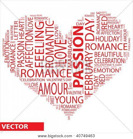 Vector concept or conceptual red wordcloud or text in shape of heart isolated on white background