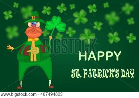 Leprechaun And Clover On Green Background. Happy St. Patrick's Day Banner With Leprechaun Or Elf And
