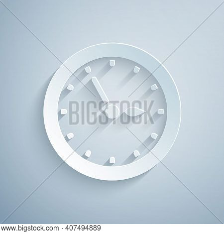 Paper Cut Sauna Clock Icon Isolated On Grey Background. Sauna Timer. Paper Art Style. Vector