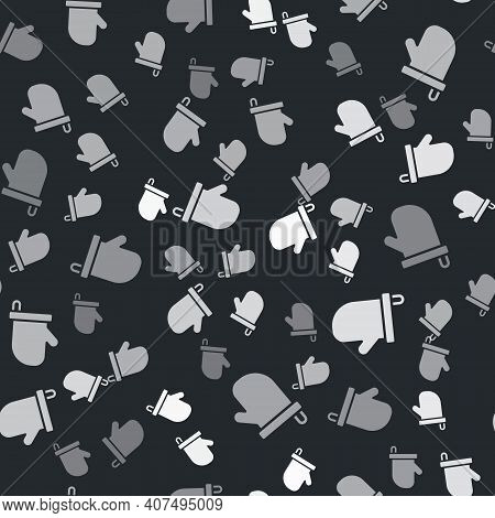 Grey Sauna Mittens Icon Isolated Seamless Pattern On Black Background. Mitten For Spa. Vector
