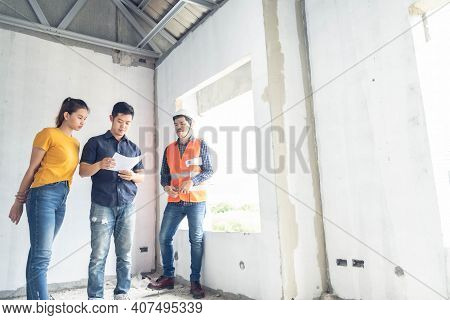 Young Asian Couple Checking House With Foreman Engineering Home Inspection Building House Walk Home