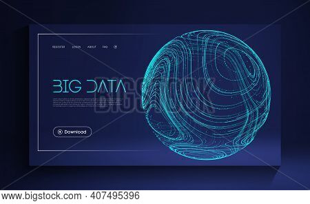 Blue Sphere Shield On Blue Background. Data Protect Digital Illustration. Abstract Sphere Energy Fie
