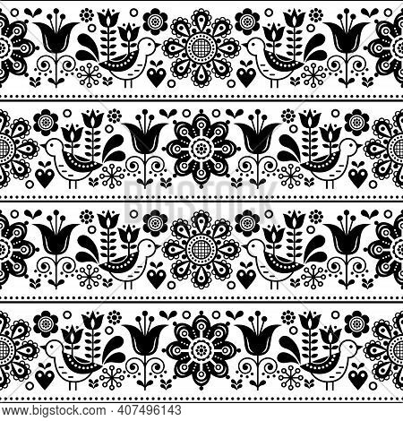 Scandinavian Folk Art Seamless Vector Design With Flowers And Birds, Cute Repetitive White And Black