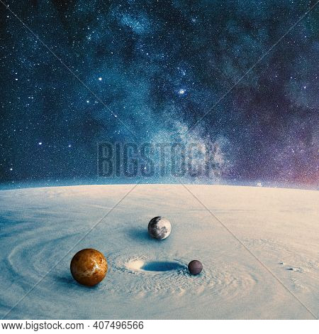 Planet Surface With Rounding Planets In It. Collage With Cosmos And Astronomy Theme. Negative Space