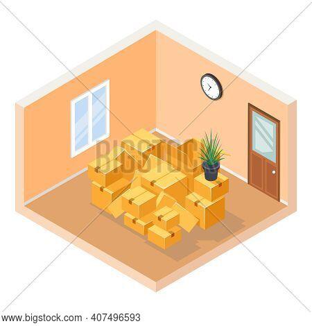 Moving Isometric Hall Room Cardboard Box Pile Cutaway Flat Design Isolated Concept Vector Illustrati