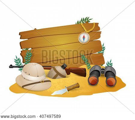 Safari Poster  For Savanna  Hunting With Tourist  Ammunition And  Discovery Accessories  Vector Illu