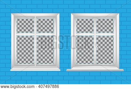 Vector Set Of White Window. Inside And Outside View On A Brick Wall. With A Window Sill And A Cornic