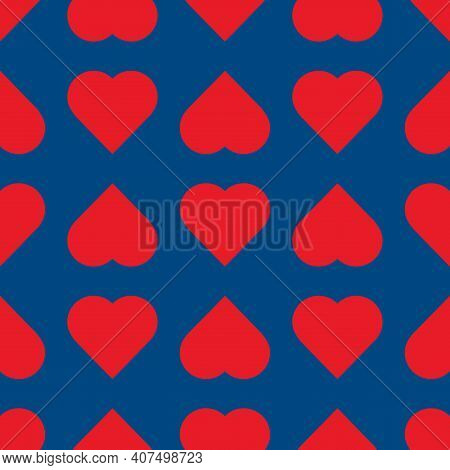 Valentine Hearts Simbol On Classic Blue Background.