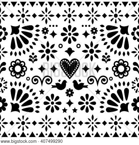 Mexican Folk Art Monochrome Seamless Vector Pattern, Design With Flowers And Birds Inspired By Tradi