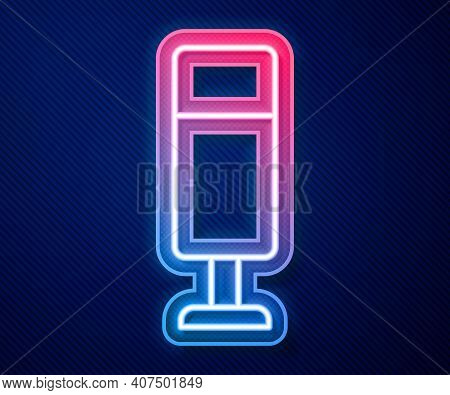 Glowing Neon Line Punching Bag Icon Isolated On Blue Background. Vector