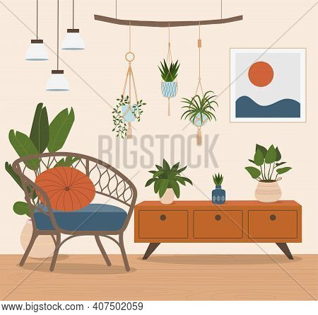 Comfortable Rattan Chair And House Plants. Vector Flat Style Illustration.