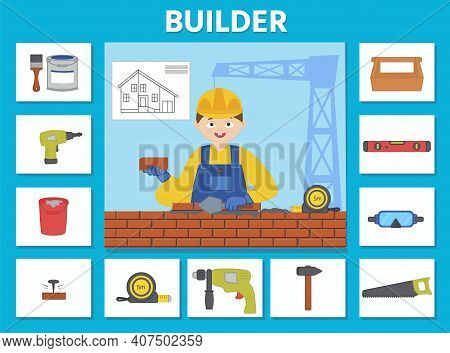 Education Game For Children. Builder. Match Objects And Professions. Preschool Worksheet Activity. C