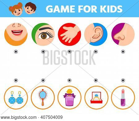 Game For Kids. Five Senses. Sight, Touch, Hearing, Smell And Taste. Preschool Worksheet Activity. Ma