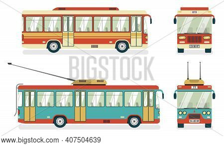 City Public Transport Services Transit Bus And Trolleybus Views 4 Flat Icons Square Abstract Isolate
