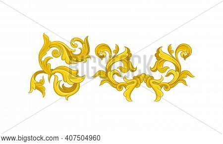 Golden Baroque Elements With Scroll And Swirl Vector Set
