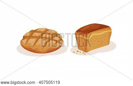 Loaves Of Bread As Staple Food From Dough Of Flour And Water Vector Set