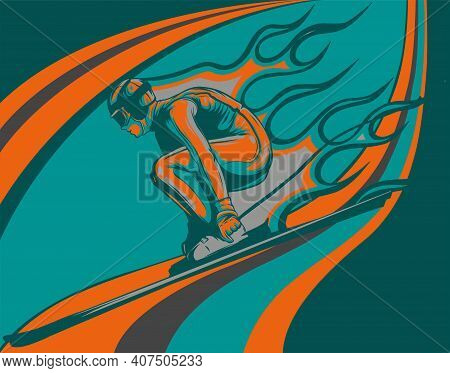 Young Man Is Alpine Skier Involved In Downhill Vector