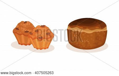 Bread And Sweet Wheat Pastry Or Confectionery Vector Set