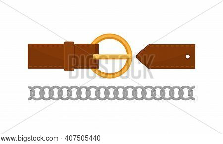 Leather And Metal Belt With Buckle Or Clasp As Band Or Strap Worn Around The Waist Vector Set