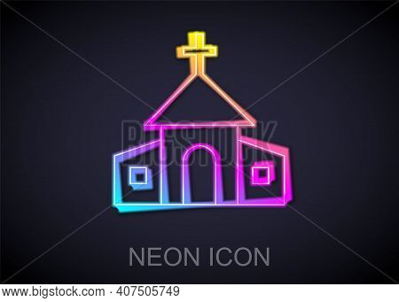 Glowing Neon Line Church Building Icon Isolated On Black Background. Christian Church. Religion Of C