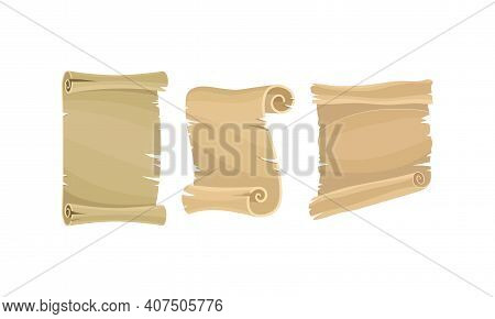Old Scroll Or Curved Manuscript As Paper Document And Historic Chronicle Vector Set