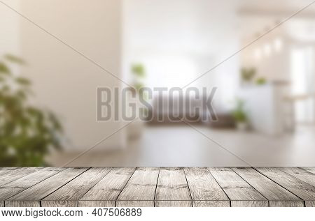 Wood Table Top On White Blurred Abstract Background From Building Hallway - Can Be Used For Display